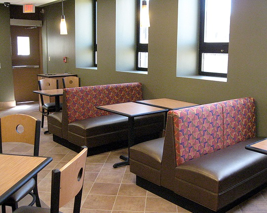 Product shown - Venus Booths, Eclipse Seating, and Urethane Edge tops.