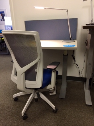 SitOnIt Torsa, ESI Lustre LED Light, ESI pneumatic height-adjustable table, and Enwork clamp-mounted privacy screen.
